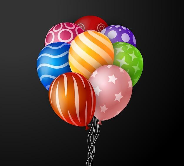 Manojo colorido realista de globos de cumpleaños volando para fiestas y celebraciones con espacio para mensaje en fondo negro. ilustración Vector Premium