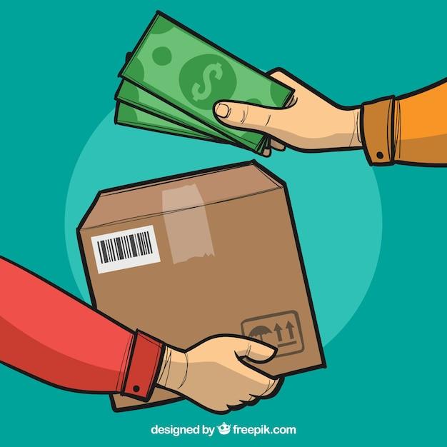 Manos con caja y dinero dibujado a mano vector gratuito