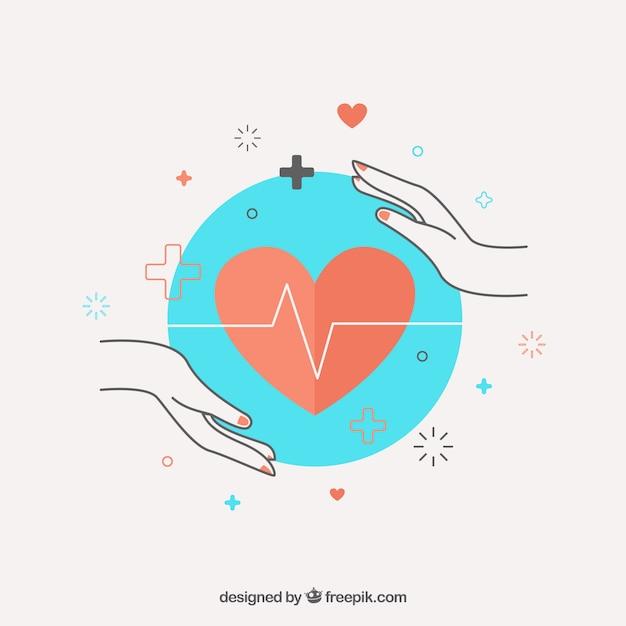 Manos y cardiología vector gratuito