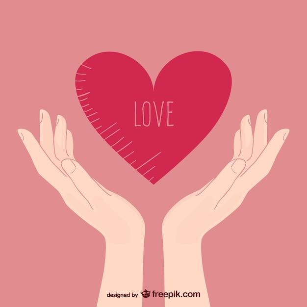 Manos con corazón vector gratuito