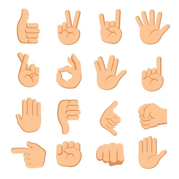 Manos dedos señales sobre fondo blanco Vector Premium