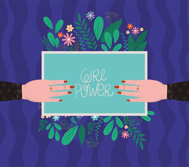 Manos femeninas con cartel de poder de niña con diseño de vector de hojas y flores Vector Premium