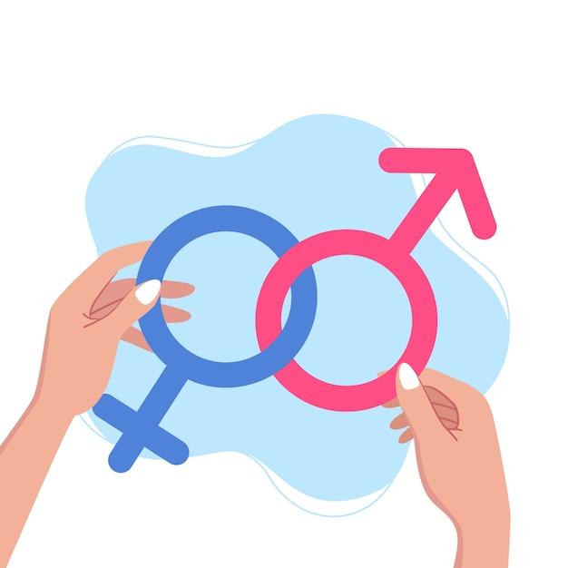 Las manos femeninas sostienen símbolos de género. concepto de normas de género, ilustración vectorial Vector Premium