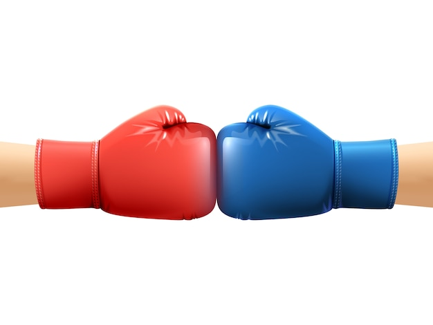 Manos en guantes de boxeo vector gratuito