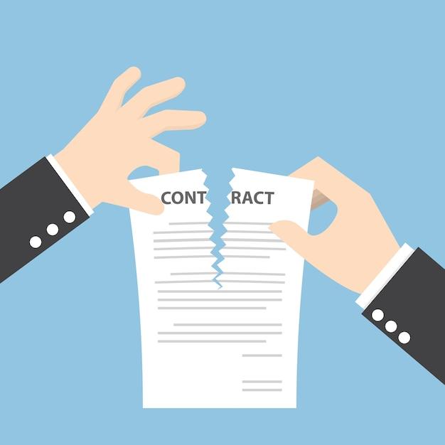 Manos de hombre de negocios desgarrando documento de contrato Vector Premium