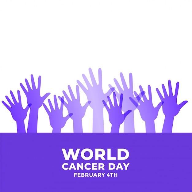 Manos levantadas para la conciencia del día mundial del cáncer vector gratuito