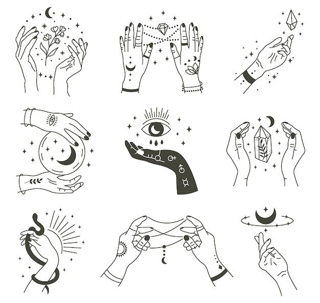 Manos mágicas. mano mágica oculta de boho, símbolo místico de bruja, brazos dibujados a mano de brujería con iconos de ilustración de luna y cristal. magia brujería espiritual, mística esotérica Vector Premium
