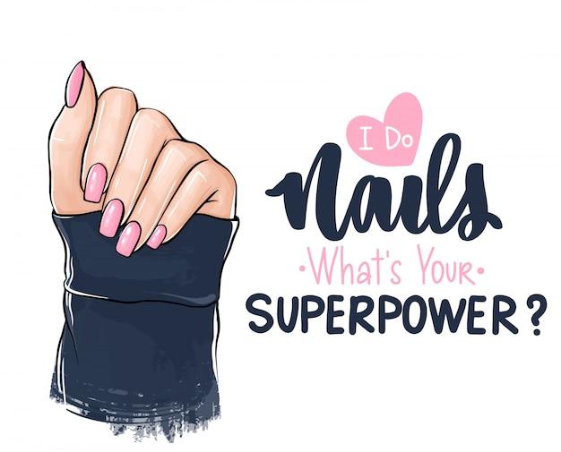 Manos de mujer hermosa con esmalte de uñas rosa. letras escritas a mano sobre las uñas. Vector Premium