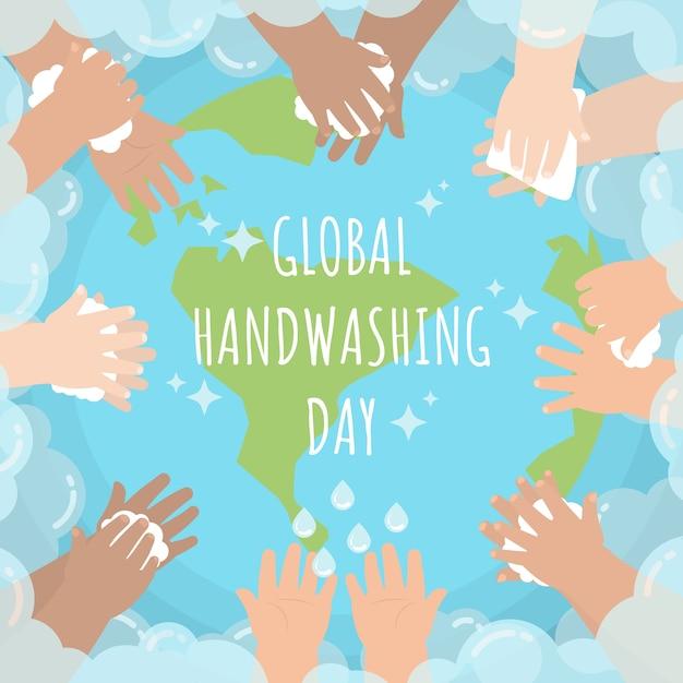 Manos de niños lavándose en todo el mundo con pompas de jabón para el día mundial del lavado de manos Vector Premium