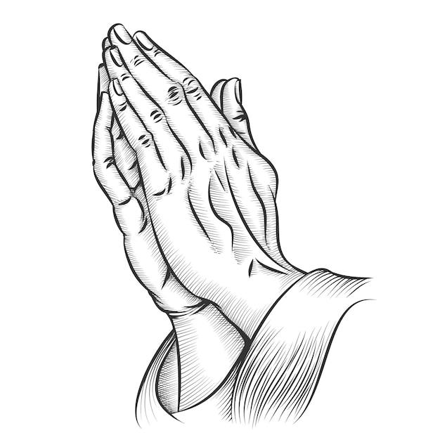 Manos orando. religión y santa católica o cristiana, espiritualidad, creencia y esperanza. vector gratuito
