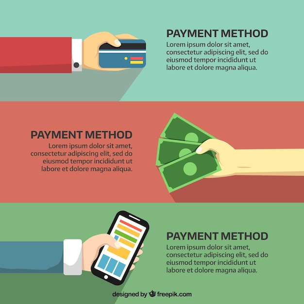 Manos pagando con tarjeta, en efectivo y con el móvil Vector Gratis