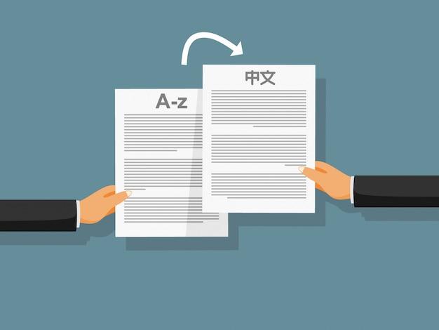 Las manos de la persona sostienen documentos similares en diferentes idiomas. Vector Premium
