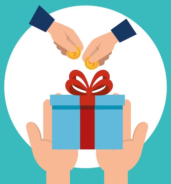 Manos con regalo y monedas vector gratuito