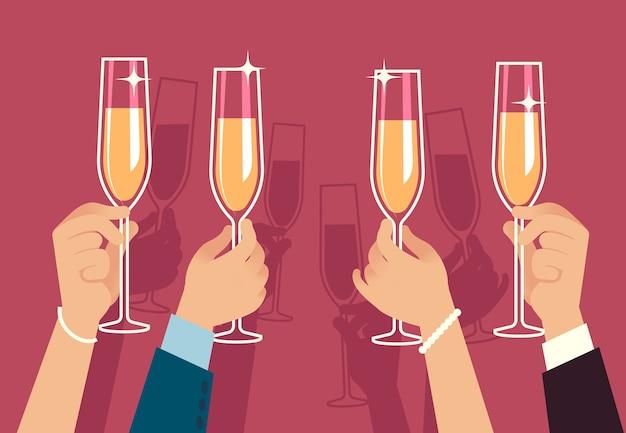 Manos sosteniendo copas de champán. la gente celebra la fiesta de navidad corporativa con bebidas alcohólicas, aniversario, evento, banquete, reunión, celebración, concepto Vector Premium
