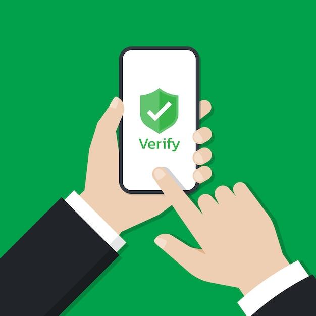 Manos sosteniendo un teléfono inteligente y toque en la pantalla con el icono de escudo que se muestra en la pantalla Vector Premium