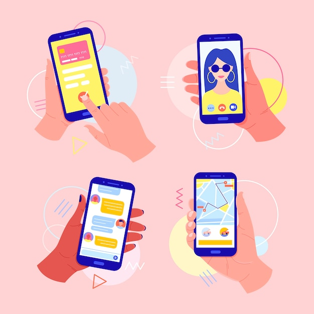 Manos sosteniendo un teléfono móvil con aplicaciones en la pantalla: pago en línea con tarjeta, videollamada, llamada de taxi, chat en el messenger. concepto de video llamada. dedo toque la pantalla. Vector Premium