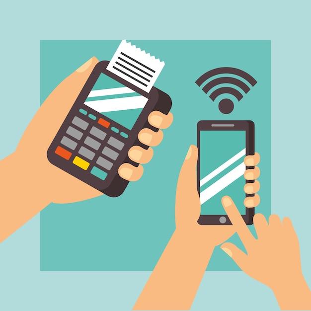 8e186b0f5572 Manos de tecnología de pago nfc