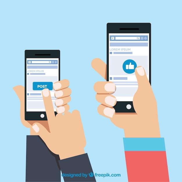 Manos con teléfonos móviles usando facebook vector gratuito