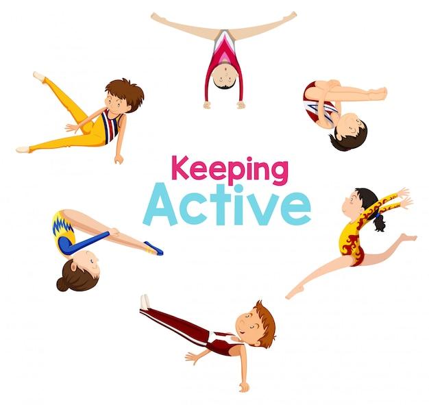 Manteniendo el logo activo con el atleta de gimnasia. vector gratuito