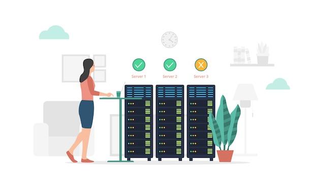 Mantenimiento del estado del servidor e informe con un estilo plano moderno y un tema minimalista de color verde Vector Premium