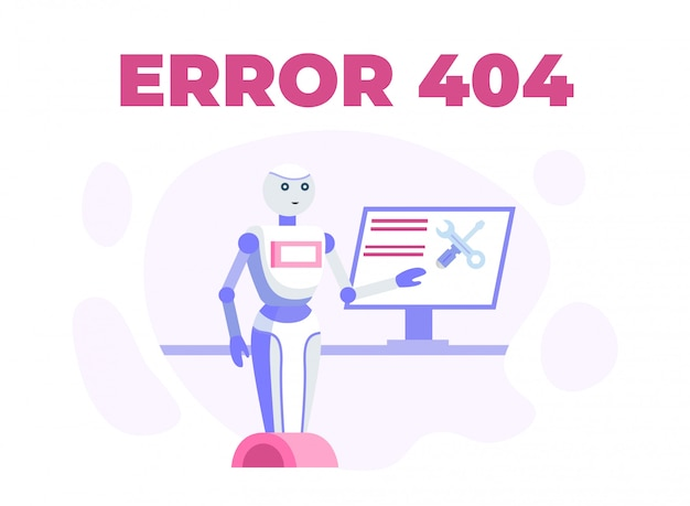 Mantenimiento de la página web o error 404 cartel de la historieta Vector Premium