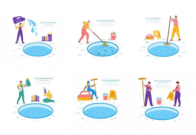 Mantenimiento de piscinas o servicio de limpieza, grupo de personas uniformadas, productos de limpieza para piscinas Vector Premium