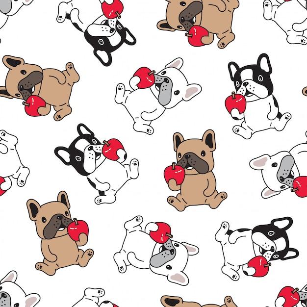 Manzana de dibujos animados de perro bulldog francés de patrones sin fisuras Vector Premium