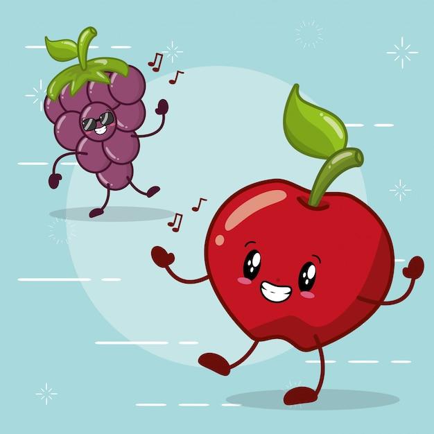 Manzana y uva sonriendo en estilo kawaaii vector gratuito