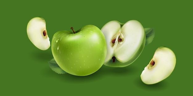 Manzana verde entera y en rodajas Vector Premium