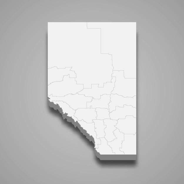 Mapa 3d de la provincia de canadá Vector Premium