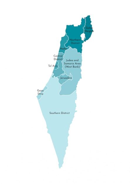 Mapa administrativo simplificado de israel Vector Premium