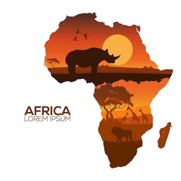 Mapa de áfrica Vector Premium