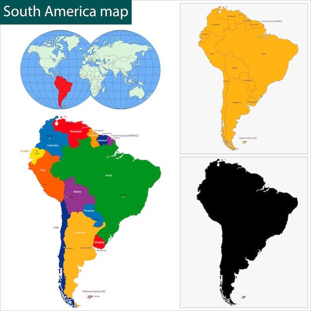 Mapa de américa del sur Vector Premium