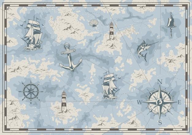 Mapa antiguo náutico vintage vector gratuito