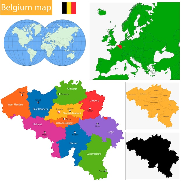Mapa De Belgica Vector Premium