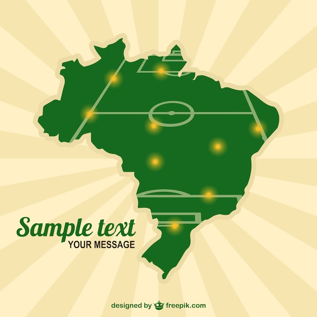 Mapa brasil plantilla de campo de fútbol vector gratuito