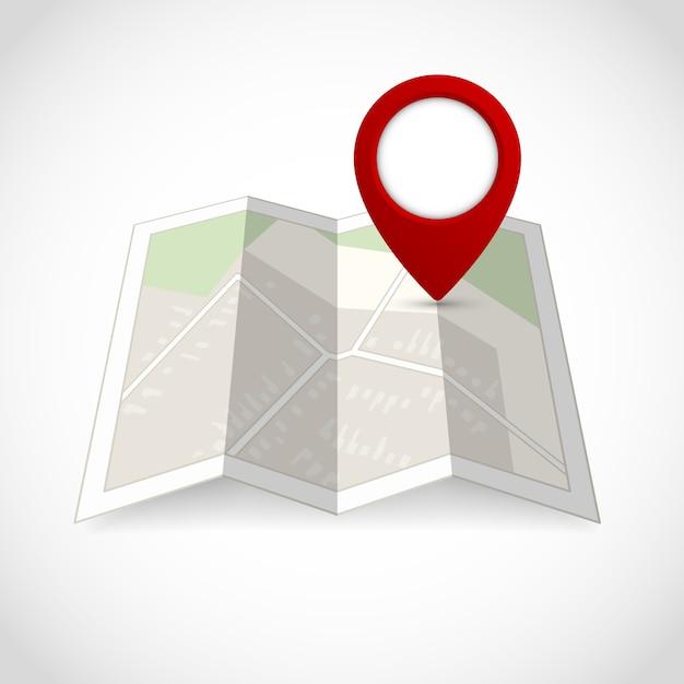 Mapa de la calle de la carretera de viaje con la ilustración del vector del símbolo de la localización vector gratuito