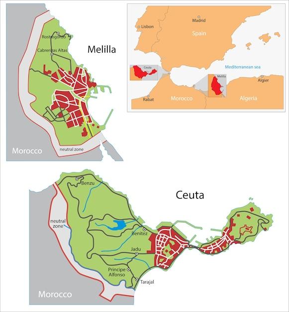 Ceuta Y Melilla Mapa.Mapa De Ceuta Y Melilla Vector Premium