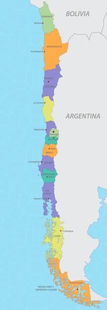 Mapa de chile Vector Premium