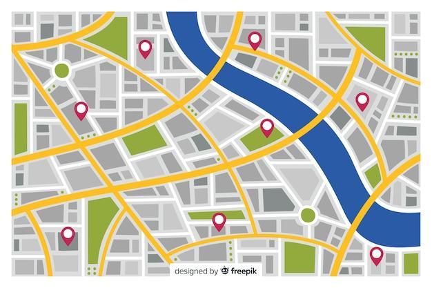Mapa de la ciudad de color con marcadores de pin rojo vector gratuito