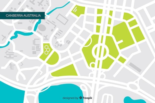 Mapa de la ciudad coloreada con río y parque vector gratuito