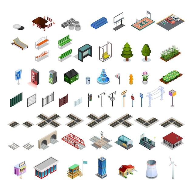 Mapa de la ciudad constructor elementos isométricos colección vector gratuito