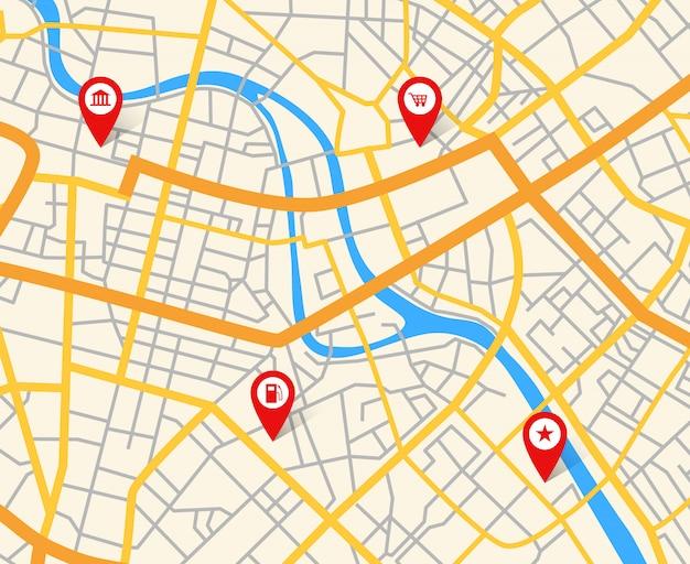 Mapa de la ciudad europea de navegación con alfileres. resumen cartografía vector patrón Vector Premium