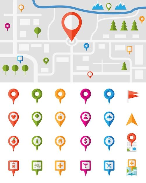Mapa de la ciudad con un gran conjunto de punteros de colores, cada uno con una infografía vectorial diferente vector gratuito