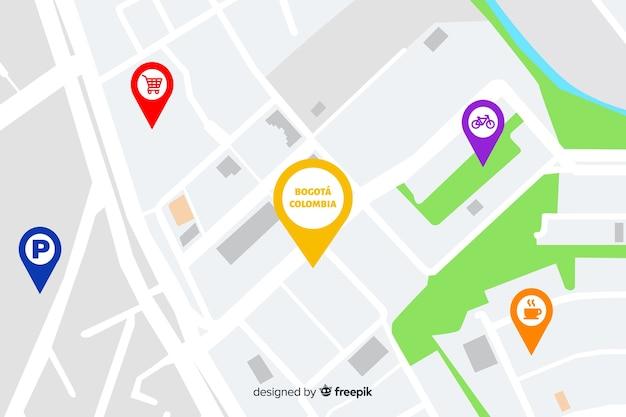 Mapa de la ciudad con puntos de navegación. vector gratuito