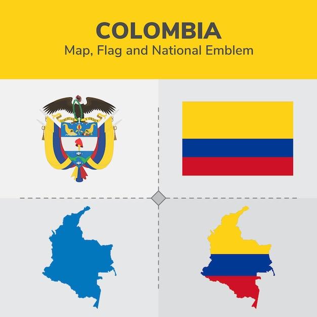 Mapa de colombia, bandera y emblema nacional Vector Premium
