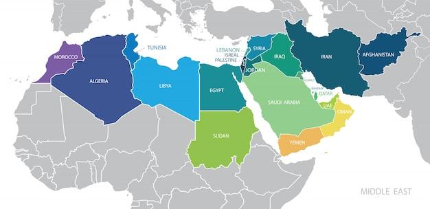 Mapa a color de medio oriente con nombres de estados miembros. Vector Premium