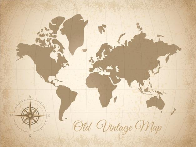 Mapa coloreado viejo vector gratuito