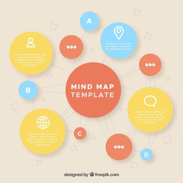 Mapa conceptual bonito con círculos vector gratuito