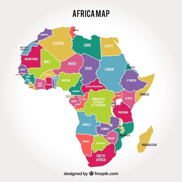 Mapa Del Continente De áfrica Con Diferentes Colores Vector Gratis